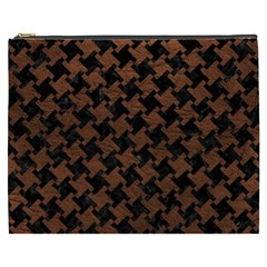 Houndstooth2 Black Marble & Dull Brown Leather Cosmetic Bag (xxxl)  by trendistuff