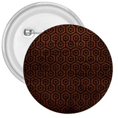 Hexagon1 Black Marble & Dull Brown Leather 3  Buttons by trendistuff