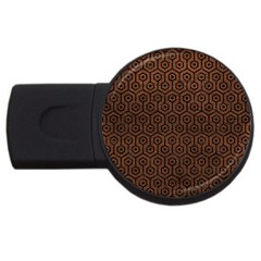 Hexagon1 Black Marble & Dull Brown Leather Usb Flash Drive Round (4 Gb) by trendistuff