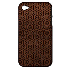 Hexagon1 Black Marble & Dull Brown Leather Apple Iphone 4/4s Hardshell Case (pc+silicone) by trendistuff