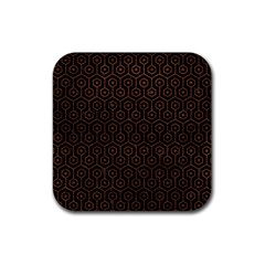 Hexagon1 Black Marble & Dull Brown Leather (r) Rubber Coaster (square)  by trendistuff