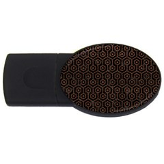 Hexagon1 Black Marble & Dull Brown Leather (r) Usb Flash Drive Oval (4 Gb) by trendistuff