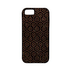 Hexagon1 Black Marble & Dull Brown Leather (r) Apple Iphone 5 Classic Hardshell Case (pc+silicone) by trendistuff