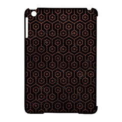 Hexagon1 Black Marble & Dull Brown Leather (r) Apple Ipad Mini Hardshell Case (compatible With Smart Cover) by trendistuff