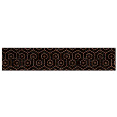 Hexagon1 Black Marble & Dull Brown Leather (r) Small Flano Scarf by trendistuff