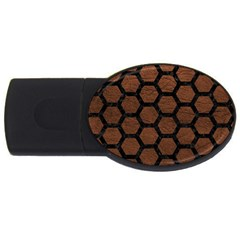 Hexagon2 Black Marble & Dull Brown Leather Usb Flash Drive Oval (2 Gb)