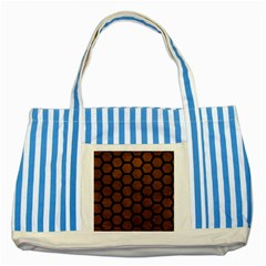 Hexagon2 Black Marble & Dull Brown Leather Striped Blue Tote Bag by trendistuff