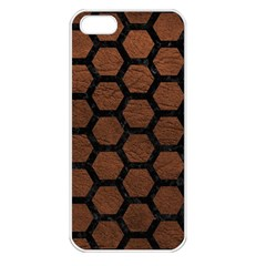 Hexagon2 Black Marble & Dull Brown Leather Apple Iphone 5 Seamless Case (white) by trendistuff