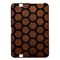 Hexagon2 Black Marble & Dull Brown Leather Kindle Fire Hd 8 9  by trendistuff