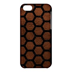 Hexagon2 Black Marble & Dull Brown Leather Apple Iphone 5c Hardshell Case by trendistuff