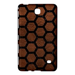 Hexagon2 Black Marble & Dull Brown Leather Samsung Galaxy Tab 4 (7 ) Hardshell Case  by trendistuff