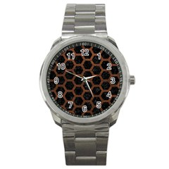 Hexagon2 Black Marble & Dull Brown Leather (r) Sport Metal Watch by trendistuff