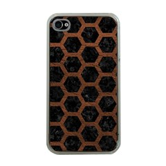Hexagon2 Black Marble & Dull Brown Leather (r) Apple Iphone 4 Case (clear) by trendistuff