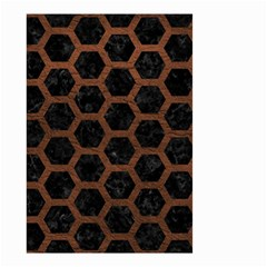 Hexagon2 Black Marble & Dull Brown Leather (r) Small Garden Flag (two Sides) by trendistuff