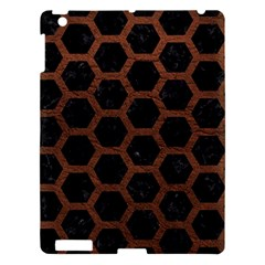 Hexagon2 Black Marble & Dull Brown Leather (r) Apple Ipad 3/4 Hardshell Case by trendistuff