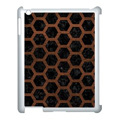 Hexagon2 Black Marble & Dull Brown Leather (r) Apple Ipad 3/4 Case (white) by trendistuff