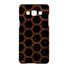 Hexagon2 Black Marble & Dull Brown Leather (r) Samsung Galaxy A5 Hardshell Case  by trendistuff