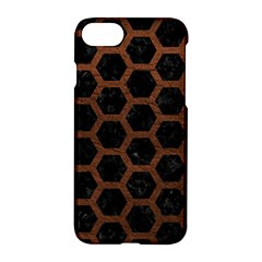 Hexagon2 Black Marble & Dull Brown Leather (r) Apple Iphone 7 Hardshell Case by trendistuff