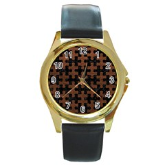 Puzzle1 Black Marble & Dull Brown Leather Round Gold Metal Watch by trendistuff