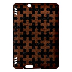 Puzzle1 Black Marble & Dull Brown Leather Kindle Fire Hdx Hardshell Case by trendistuff