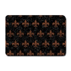 Royal1 Black Marble & Dull Brown Leather Small Doormat  by trendistuff