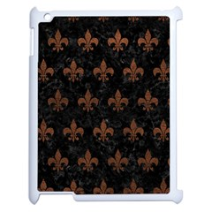 Royal1 Black Marble & Dull Brown Leather Apple Ipad 2 Case (white) by trendistuff