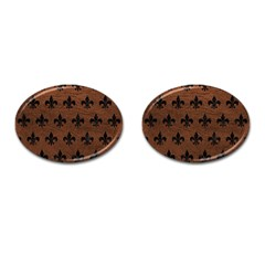 Royal1 Black Marble & Dull Brown Leather (r) Cufflinks (oval) by trendistuff
