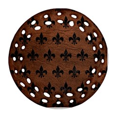 Royal1 Black Marble & Dull Brown Leather (r) Round Filigree Ornament (two Sides) by trendistuff