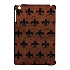 Royal1 Black Marble & Dull Brown Leather (r) Apple Ipad Mini Hardshell Case (compatible With Smart Cover) by trendistuff