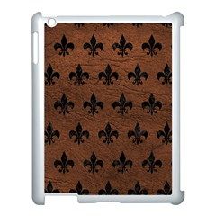 Royal1 Black Marble & Dull Brown Leather (r) Apple Ipad 3/4 Case (white) by trendistuff