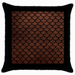 Scales1 Black Marble & Dull Brown Leather Throw Pillow Case (black) by trendistuff