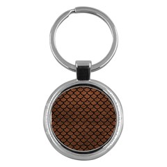 Scales1 Black Marble & Dull Brown Leather Key Chains (round)  by trendistuff