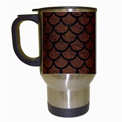 Scales1 Black Marble & Dull Brown Leather Travel Mugs (white) by trendistuff