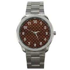 Scales1 Black Marble & Dull Brown Leather Sport Metal Watch by trendistuff