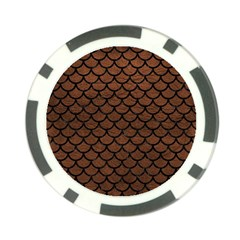 Scales1 Black Marble & Dull Brown Leather Poker Chip Card Guard (10 Pack) by trendistuff