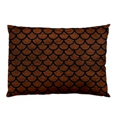 Scales1 Black Marble & Dull Brown Leather Pillow Case (two Sides) by trendistuff