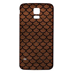 Scales1 Black Marble & Dull Brown Leather Samsung Galaxy S5 Back Case (white) by trendistuff