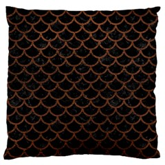 Scales1 Black Marble & Dull Brown Leather (r) Large Cushion Case (one Side) by trendistuff