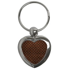 Scales2 Black Marble & Dull Brown Leather Key Chains (heart)  by trendistuff