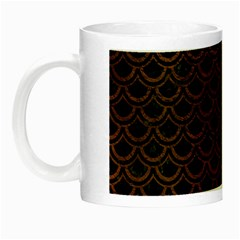 Scales2 Black Marble & Dull Brown Leather (r) Night Luminous Mugs by trendistuff