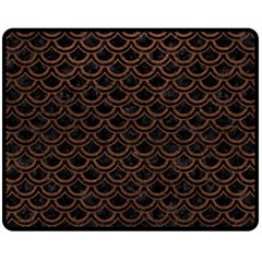 Scales2 Black Marble & Dull Brown Leather (r) Fleece Blanket (medium)  by trendistuff