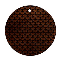 Scales3 Black Marble & Dull Brown Leather Round Ornament (two Sides) by trendistuff
