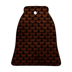 Scales3 Black Marble & Dull Brown Leather Ornament (bell) by trendistuff