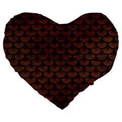 Scales3 Black Marble & Dull Brown Leather Large 19  Premium Heart Shape Cushions by trendistuff