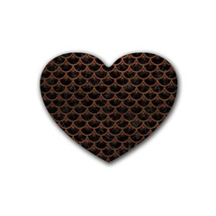 Scales3 Black Marble & Dull Brown Leather (r) Heart Coaster (4 Pack)  by trendistuff