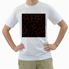 Skin1 Black Marble & Dull Brown Leather Men s T Shirt (white) (two Sided) by trendistuff