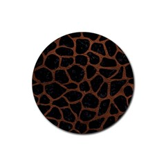 Skin1 Black Marble & Dull Brown Leather Rubber Coaster (round)  by trendistuff