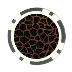 Skin1 Black Marble & Dull Brown Leather Poker Chip Card Guard (10 Pack)