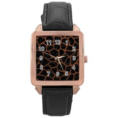 Skin1 Black Marble & Dull Brown Leather Rose Gold Leather Watch  by trendistuff