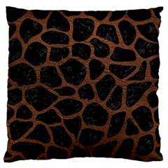 Skin1 Black Marble & Dull Brown Leather Large Flano Cushion Case (two Sides) by trendistuff
